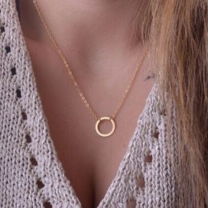 Simple Gold Filled Circle Necklace